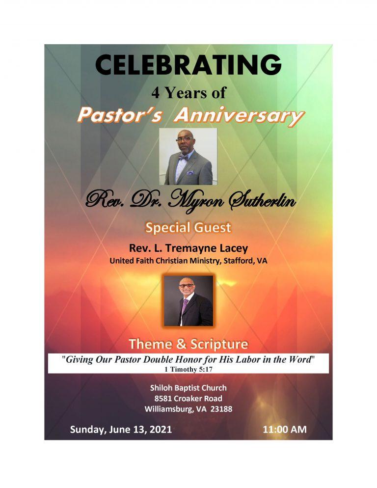 4th Anniversary of Pastor Sutherlin